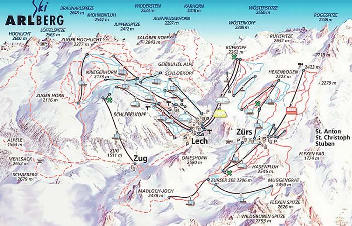 Австрия Схема трасс. Лех